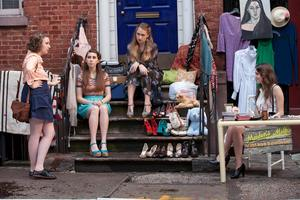 girls hanging out on steps