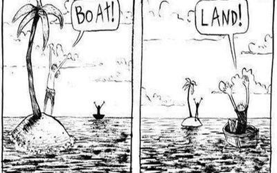 Boat!  Land!  Perspective.